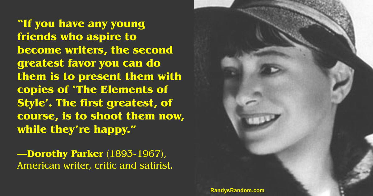 dorothy parker essay The following is a discussion of what the short story the standard of living, by author dorothy parker, suggests about the beliefs, dreams, and value systems of.